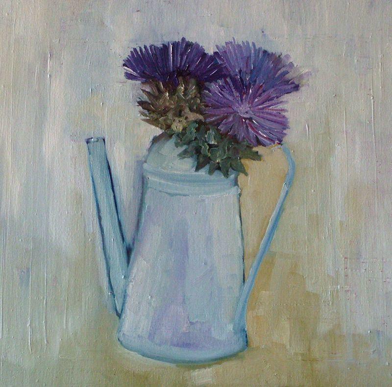Oil on linen artichoke flower